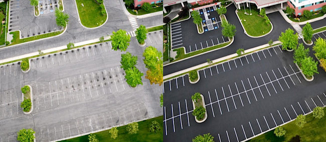 This is a before and after image of a parking lot displaying the effects of PDC (Pavement Dressing Conditioner)